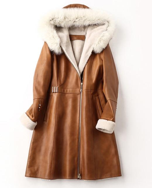 ac22fed84e140 2018 kożuchy damskie cięcie skóra płaszcz z futra lisa kapturem wełny  kaszmiru pokryte brązowy czarny kobiece