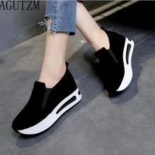 AGUTZM Women Shoes Platform Creepers Female Slip On Moccasins Suede Elastic Band Sewing Casual  Shoe Ladies Footwear W18