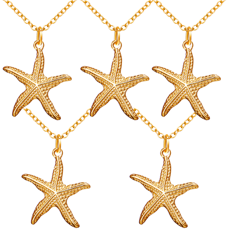 5 pieces/Lot Gold Color Alloy Starfish Necklace for Women Chain Pendant Summer Jewelry Collar 2019 Fashionable