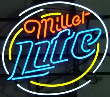 "Miller Lite Logo v1 Pub Store Handcrafted Real Glass Tube Neon Light Sign 18"" X 14"""