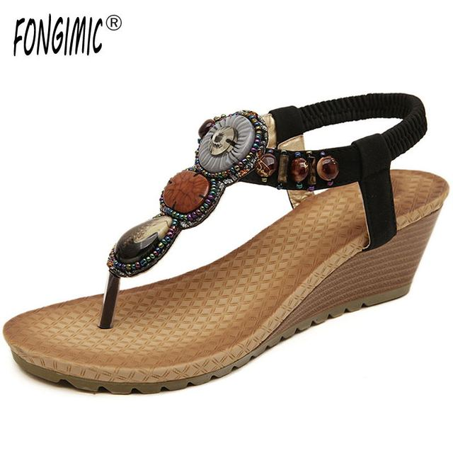 FONGIMIC Bohemia bead new style summer Rhinestone sandals female beading  Fashion medium wedges Sandals all match cool shoes 495490713708