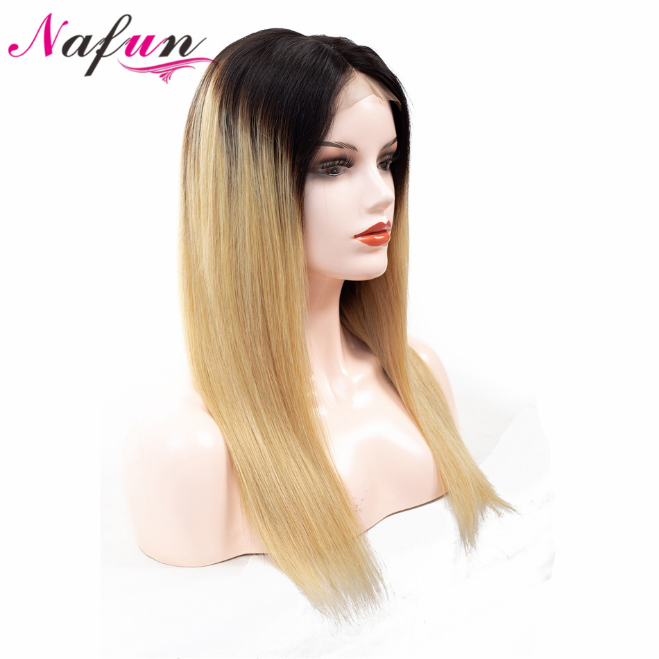 NAFUN 4x4 lace Closure Wig Straight Human Hair Wigs 1B 27 Ombre Color Peruvian Remy Swiss