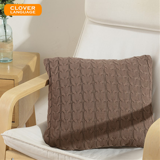 New Vintage Style Knitted Cushion Cover Ripple Pattern Pillow Case