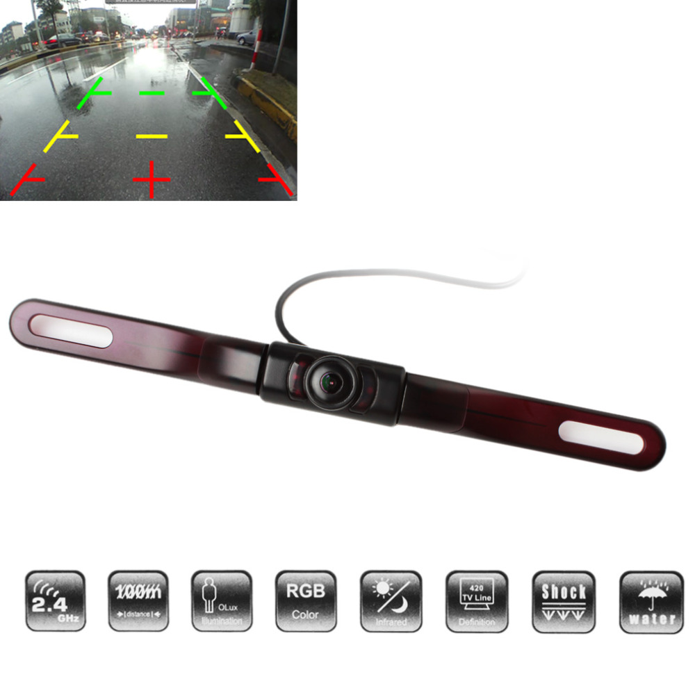 Auto Car Rear View Reverse Backup Camera 120 Degrees Wide Angle 500TVL Anti-fog Free Opening License Plate Frame Parking Camera