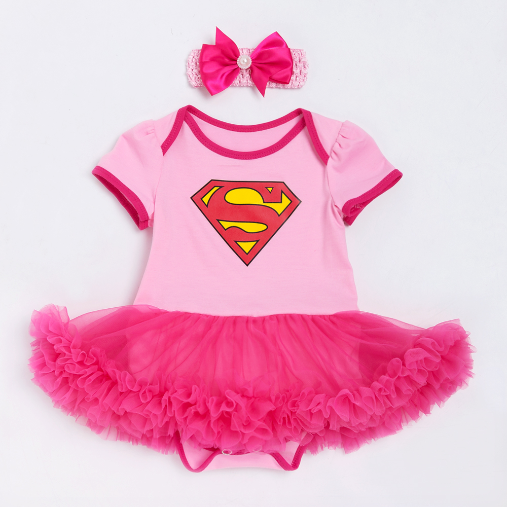 YK&Loving Superman Baby Girl Romper Tutu Romper Dress Jumpersuit+headband 2pcs Sets Halloween Party Birthday cosplay New arrive new baby girl clothing sets lace tutu romper dress jumpersuit headband 2pcs set bebes infant 1st birthday superman costumes 0 2t