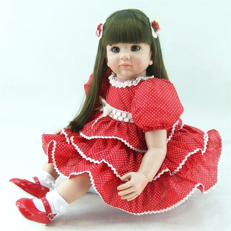 22 Inch Soft Vinyl Reborn Baby Doll Real Looking Newborn S Toddler In Red Layerd Dress Birthday Holiday Gifts Toy Dolls From Toys