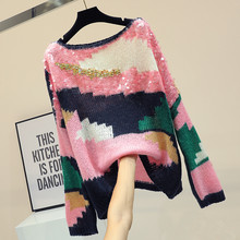MUMUZI Women Sequined Sweater Pullover Pink Knitted Cotton Tops Hit Color Crew Neck Essential Jumper Long Sleeve Sweaters
