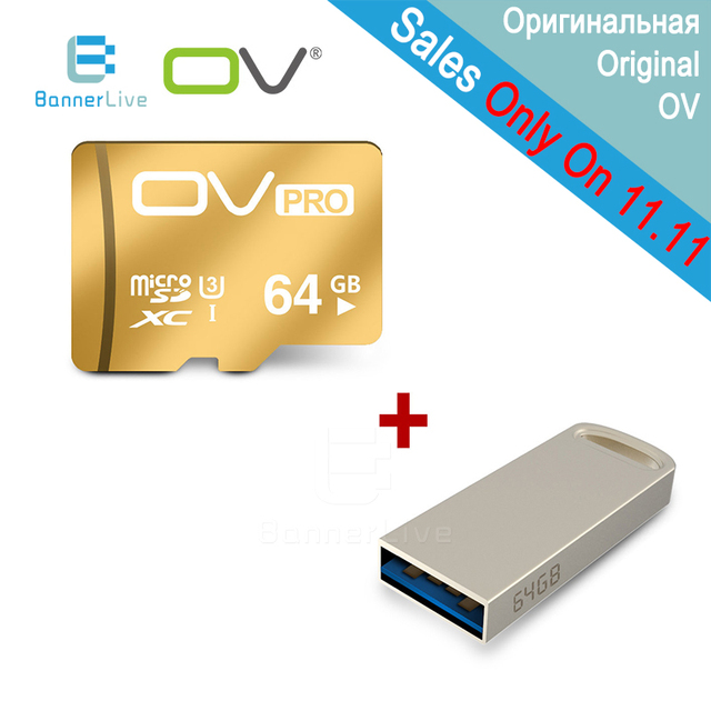 OV 64GB 32GB 16GB Pro Memory Micro SD SDHC SDXC U3 TF UHS-1 Card Class 10 with U-Net 3.0 USB Flash Drive