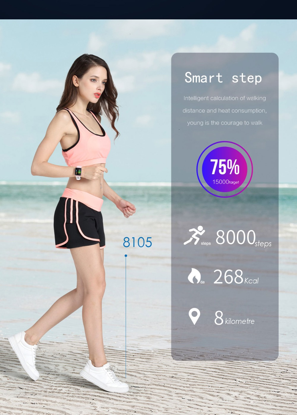 Smart Watch P68 Sports IP68 fitness bracelet activity tracker heart rate monitor blood pressure for ios Android apple iPhone 6 7 10