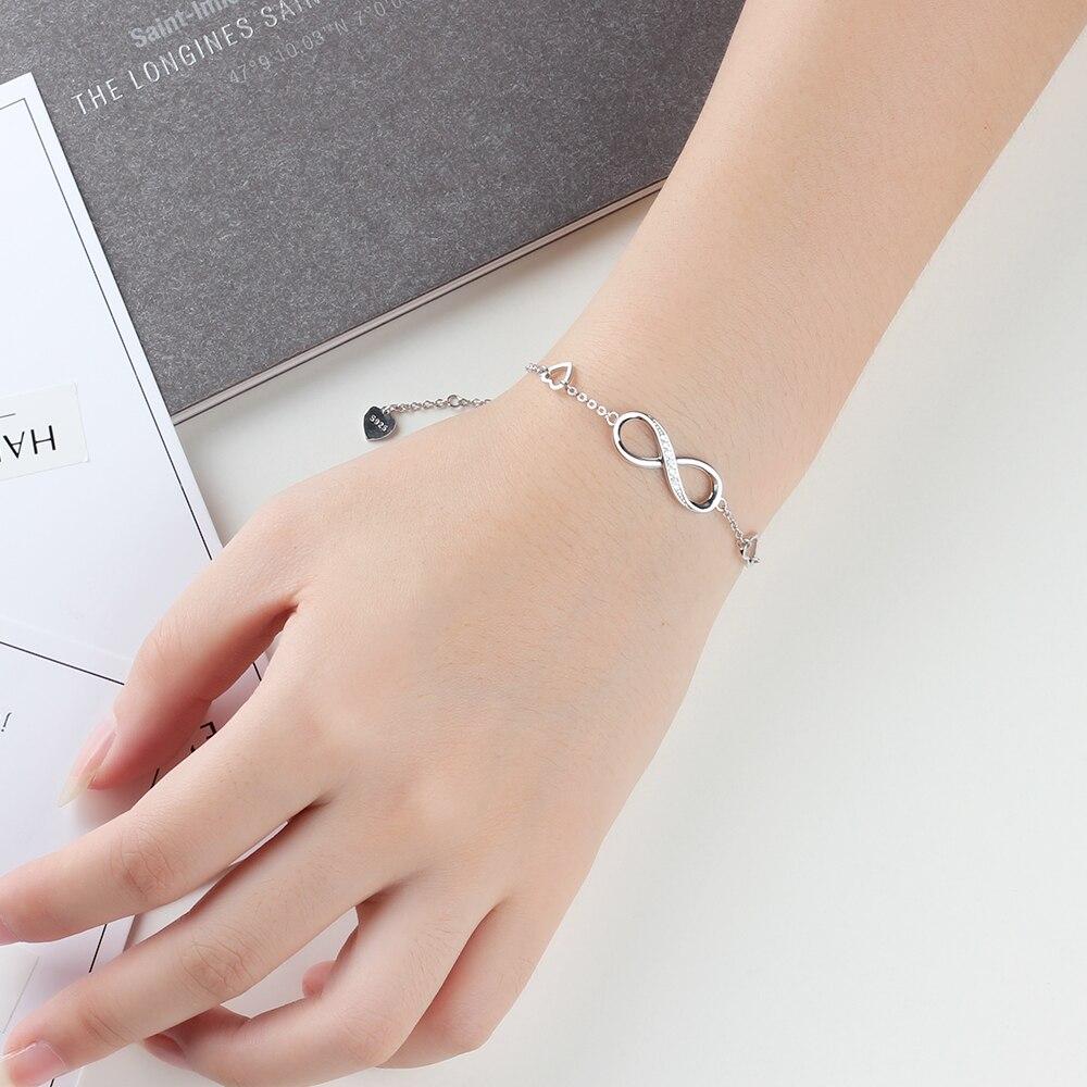 HTB1Hl6SXvfsK1RjSszgq6yXzpXaZ 925 Sterling Silver Bracelets for Women Infinity Bracelet with Cubic Zirconia 8 Shape Chain Bracelet Jewelry Gift(Lam Hub Fong)