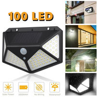 100 led 야외 태양 광 전원 벽 램프 모션 센서 방수 보안 빛