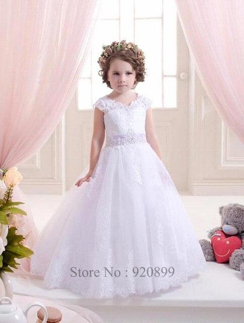 Blanco vestido flor chica para bodas de encaje balón vestido vestido ...