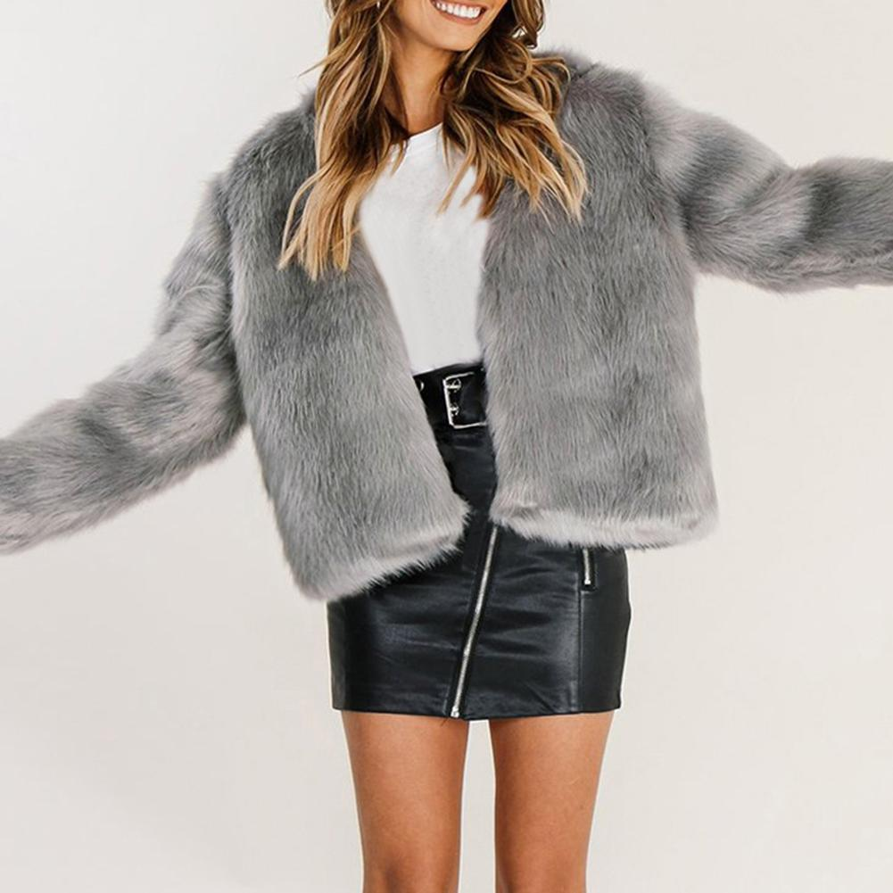 Women Thicken Faux Fur Jacket Solid Color Winter Open Front Cropped Coat Outwear Fashion