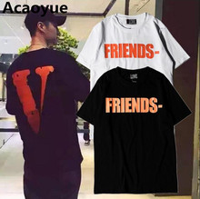 Vlone FRIENDS Summer Men Women T shirts 2017 New Arrive Kanye West Sashion Hip Hop VLONE White T-shirt 100%Cotton Tee