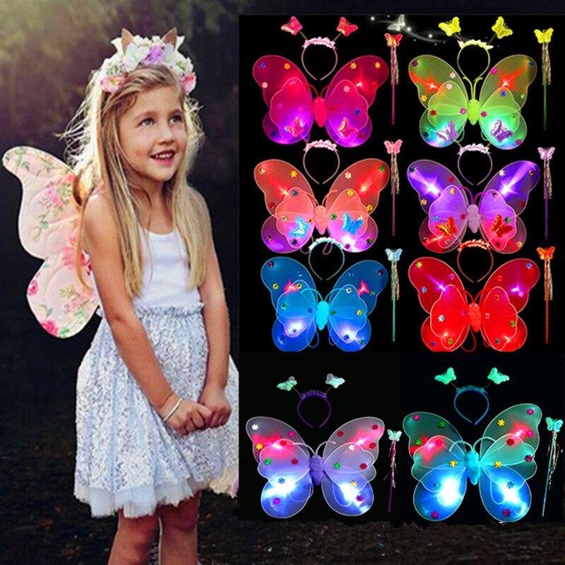 3 шт./компл. девочек мигающий светодиодный светильник крылья волшебной бабочки, волшебной палочкой и повязкой на голову костюм игрушка