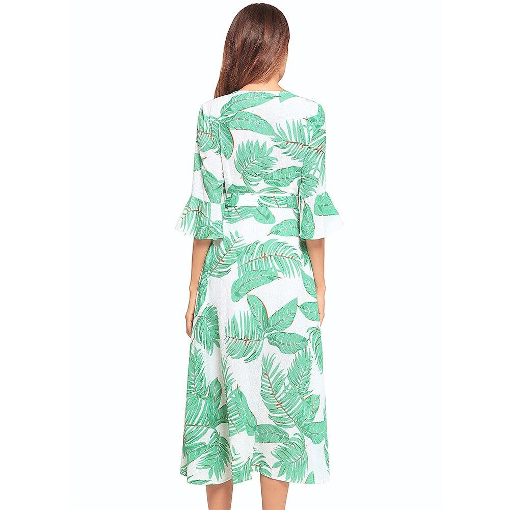 cou Robes Maxi Long Femelle Plage Yf Imprimé Floral D'été Robe Bohême V Vert Femmes Ethnique SYnxwxF
