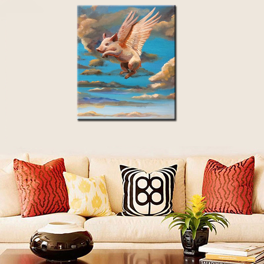 Pure Handmade Home Decor Wall Painting Art Cute Flying Pig Animal Picture  Handpainted Abstract Cartoon Oil Paintings On Canvas In Painting U0026  Calligraphy ...