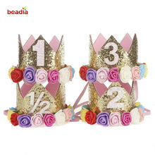 a5f6f73d27e Happy Girl Birthday Crown Party Decor 1st 2nd 3rd Year Old Number Princess  Pink Birthday Flower Hat Baby Hair Accessories
