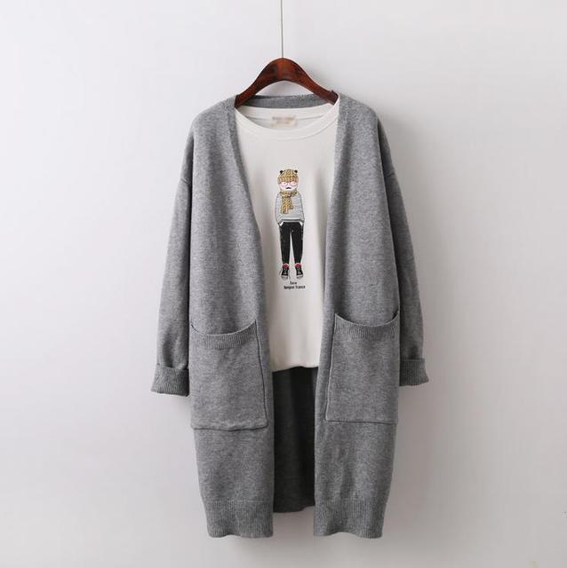 Mulheres Camisola Longa Cardigan 2016 Moda Outono Estilo Manga Longa Densa Elegante Blusas de Malha Cardigan feminino Casaco Longo