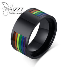 SIZZZ Custom Engraving 10mm Stainless Steel Enamel Rainbow Lines LGBT Pride Rings for Lesbian & Gay Wedding Bands Jewelry(China)