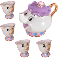 Cartoon Beauty And The Beast Mug Mrs Potts Chip Cup Coffee Tea Set Porcelain 18K Gold-plated Ceramic Teapot Valentine's Day Gift