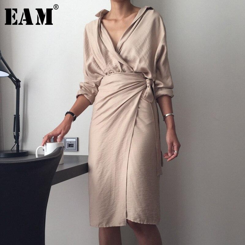 [EAM] 2020 New Spring Autumn V-Neck Long Sleeve Waist Bandage Loose Big Size Temperament Dress Women Fashion Tide JU356