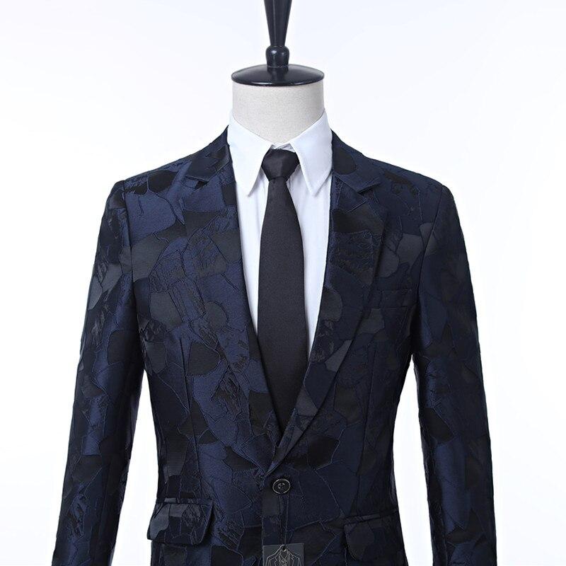 New men's dress suit jacket Navy pattern men's jacket cut lapel One button's grace banquet formal men's jacket suit custom - 2