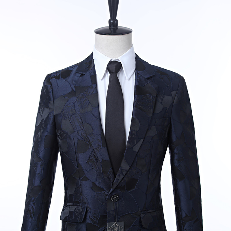 Nieuwe mannen jurk pak jas Marine patroon heren jas cut revers Een knop's grace banket formele mannen's jacket suit custom - 2