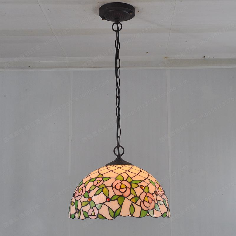 30CM pink rose restaurant chandelier Tiffany lighting bedroom hotel American Pastoral European style table lamps vintage light