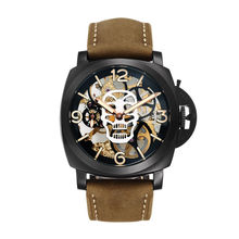 Parnis SKULL Seriers Luminous Mens Leather Watchband Fashion Mechanical font b Watch b font Wristwatch
