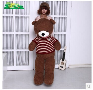 Stuffed animal 130 cm brown Teddy bear plush toy  stripes sweater bear doll throw pillow gift w3702 stuffed animal 120 cm cute love rabbit plush toy pink or purple floral love rabbit soft doll gift w2226