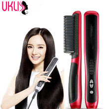 Sale 2017 New Brand Electric Hair Straightener Brush Comb Fast Hair Straightening Irons Brushes Combs Escova Alisadora