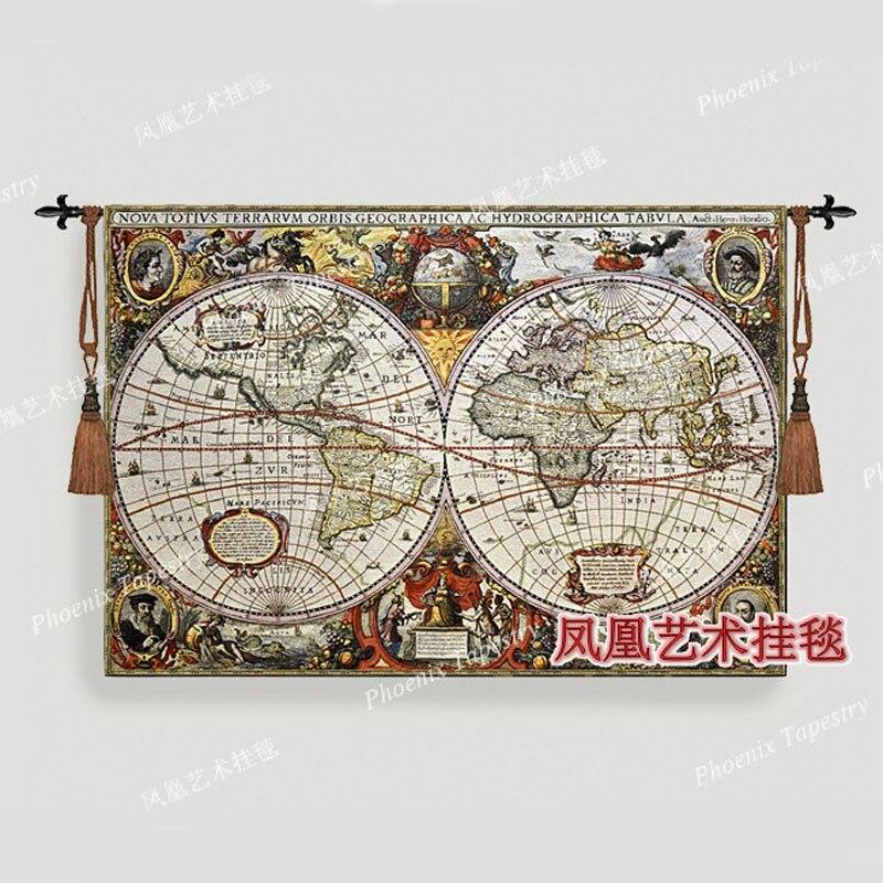 Bella prodotti tessili per la casa parete arazzo appeso mappa del mondo di 85*120 cm tessuto jacauard decorativo antico decorazione H117