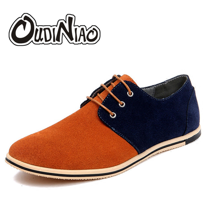 OUDINIAO Cow Suede Mens Shoes Casual Large Sizes British Shoes Men Patchwork Classic Shoes For Male Zapatos Hombre Fashion 2018 plush casual suede shoes boots mens flat with winter comfortable warm men travel shoes patchwork male zapatos hombre sg083