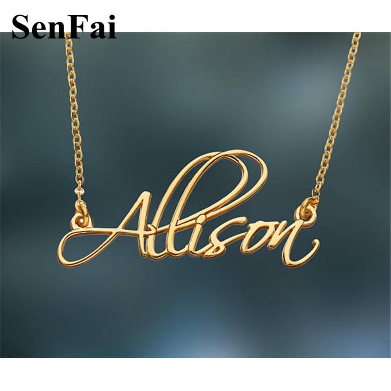 Senfai Customize Name Necklace Women Men Any Font Monogram Initials Allison Chain Collares Pendants Necklaces For Party Jewelry
