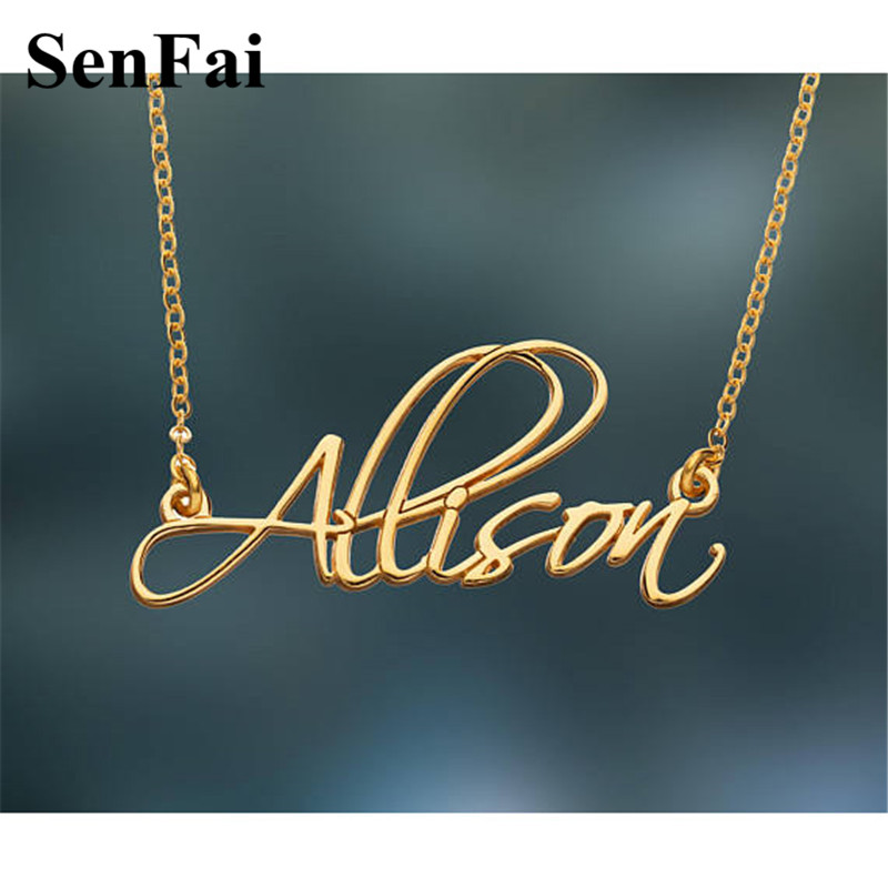 Senfai Customize Name Necklace Women Men Any Font Monogram Initials Allison Chain Collares Pendants Necklaces For Party Jewelry