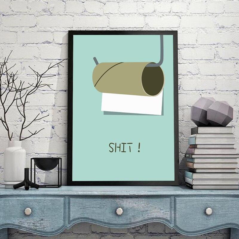 Scheiße Leinwand Malerei Moderne Kühle Brief Wandkunst Malerei Leinwand Poster  Wand Bilder Bad Home Decor HD2309