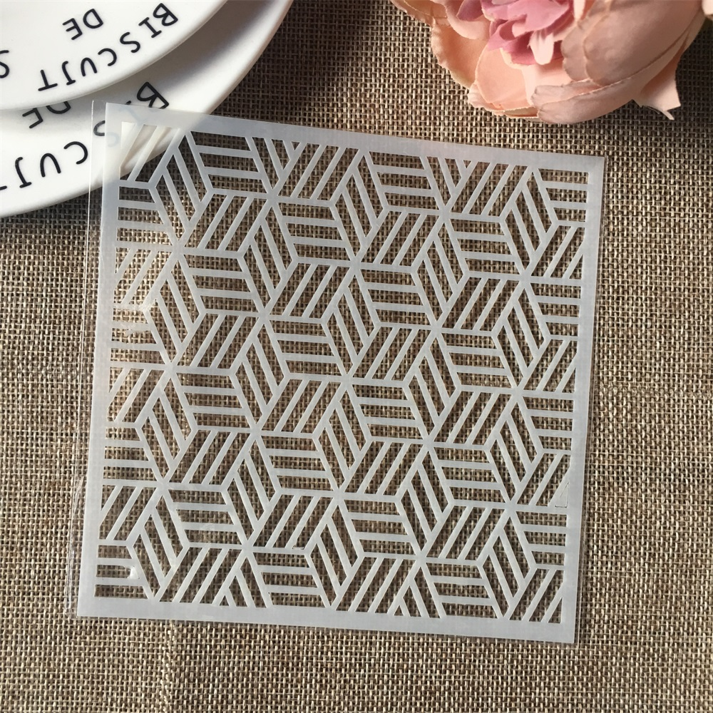 Hot 13cm Geometry Cubic DIY Craft Layering Stencils Wall Painting Scrapbooking Stamping Embossing Album Card Template