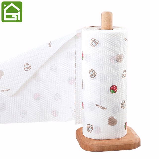 Natural Wood Disposable Wiping Paper Towel Stand Holder Wash Cloth Rack  Cleaning Tissue Roll Paper Shelf