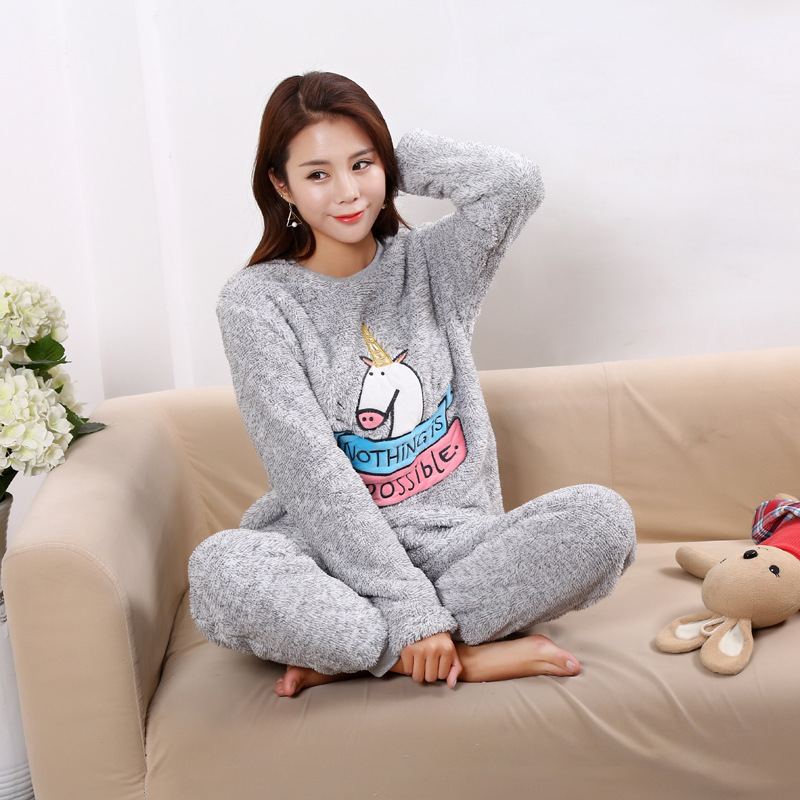 New 2 Pcs/lot Thick Coral Fleece Women   pajamas     set   Bear Flannel Warm Winter Girls Pyjamas   set   Lingerie Sleepwear home clothes