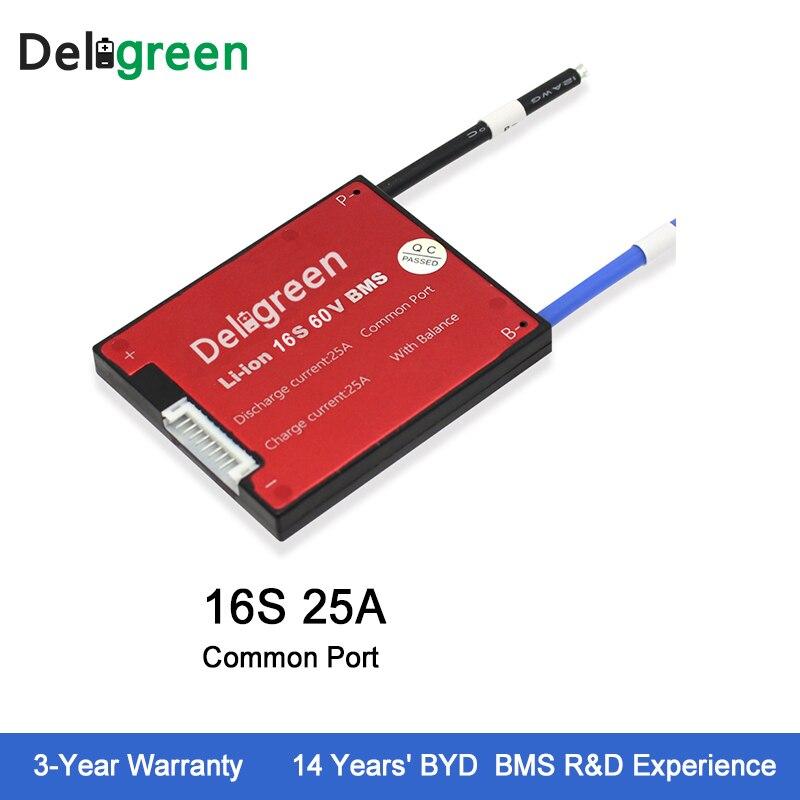 Deligreen 16 S 25A 60 V PCM/PCB/BMS para batería de litio 18650 li-po LiNCM batería