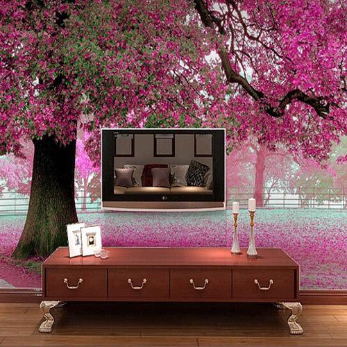 3D Wall Murals Cherry Blossom Wallpaper Photo Waterproof for Living     3D Wall Murals Cherry Blossom Wallpaper Photo Waterproof for Living Room  papel de parede para quarto Landscape Wall Mural Purple in Wallpapers from  Home