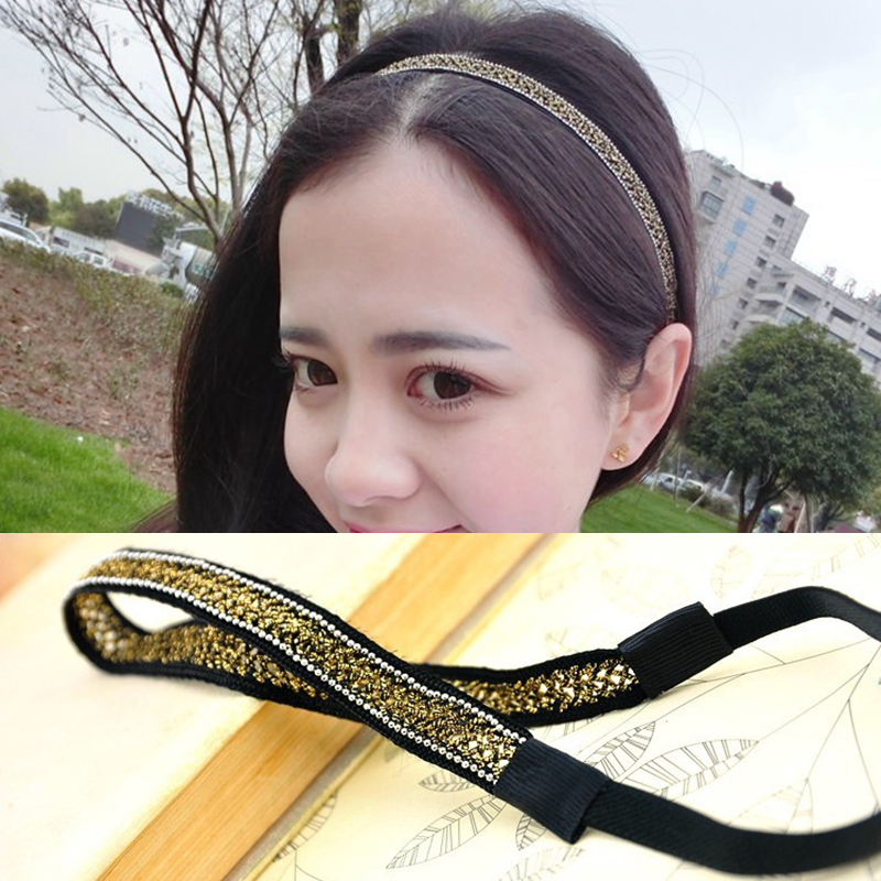 Women Super Thin Handmade Hairbands Personality Shiny Crystal Rhinestone Headbands Chic Hair Holder Gold   Headwear   Headdresses