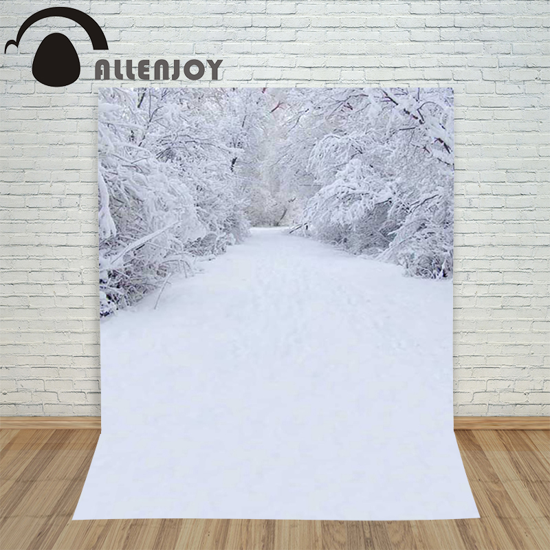 Allenjoy christmas photography backdrop Snow winter natural forest children's photocall photo background Customize