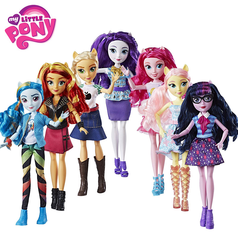 27cm Hasbro My Little Pony Toys Equestria Girls Rainbow Dash Fluttershy Twilight Sparkle Action Figures Ponies Collection Dolls 12pcs my little pony action figures collection rainbow dash pony kids toys set