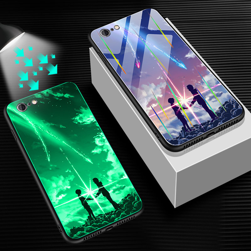 HTB1Hl8fUVzqK1RjSZFvq6AB7VXaf Luminous Tempered Glass Case For iPhone 5 5S SE 6 6S 7 8 Plus Case Back Cover For iPhone X XR XS 11 Pro Max Case Cover Cell Bag