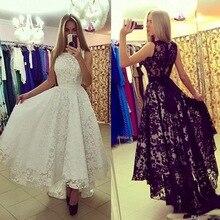 White Black Lace Wedding Dress Short Front Long Back China Bridal Gowns Vestidos De Noiva Vintage High Low Dresses