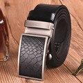 Moda Casual Patrón de piel de Serpiente de Impresión Retro Cinturones, Cinturones De Cuero de los hombres de Alta Calidad, Cinturón de Hebilla automática