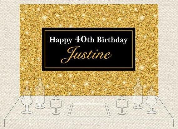 Фон для фотосъемки на заказ с золотыми блестящими блестками на день рождения с компьютерным принтом