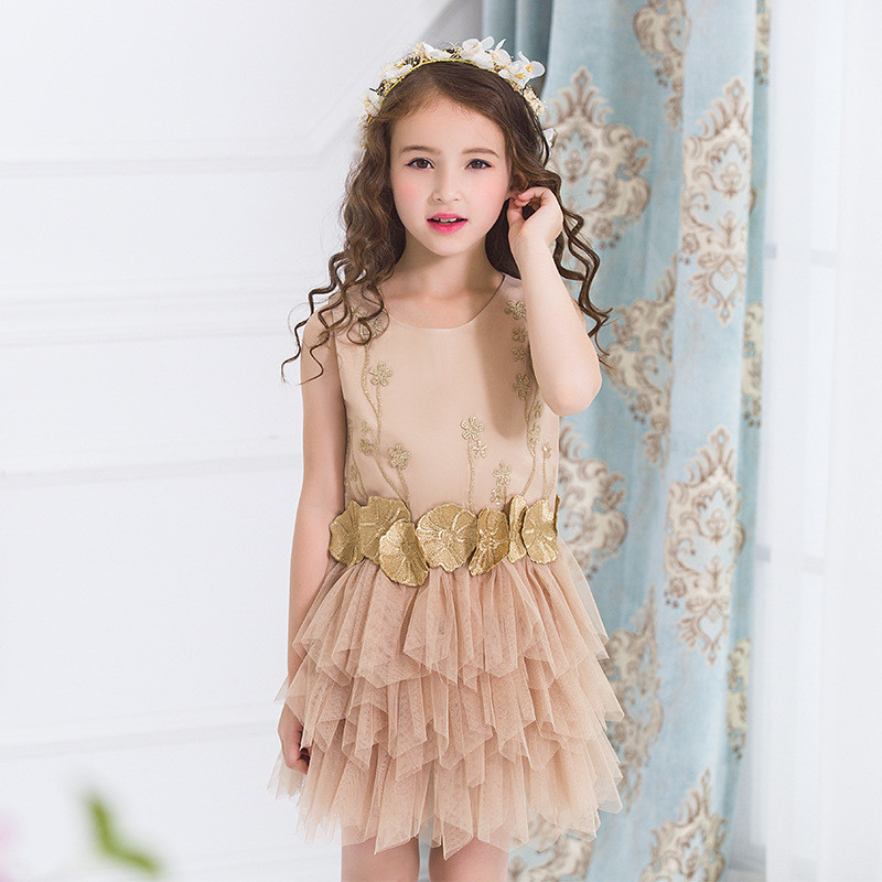 New Wedding Girls Dress Summer Mesh Girls Clothes Gold Floral Princess Dress Children Sleeveless Clothes Kids Girls Yarn Dress